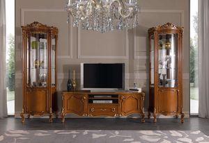 Chippendale vitrina 1 puerta, Vitrina para sala de estar de estilo clásico.