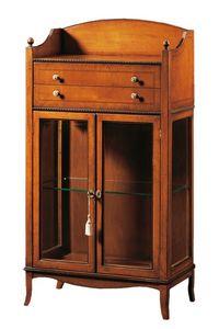 Cleopatra FA.0085, Vitrina con 2 puertas, 2 cajones y compartimiento de almacenamiento, ideal para ambientes de estilo clásico