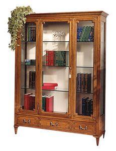 Cognac VS.6531.A, Vitrina en madera de nogal, con una puerta central, 3 cajones, espalda cubierta de tela, estantes de cristal, para ambientes de estilo clásico y lujoso