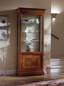D 201, Vitrina clásica en madera de cerezo, con incrustaciones de flores