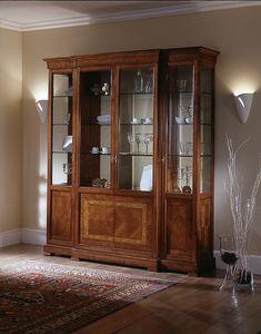 D 204, Vitrina de 4 puertas, con el embutido, estantes de cristal florales