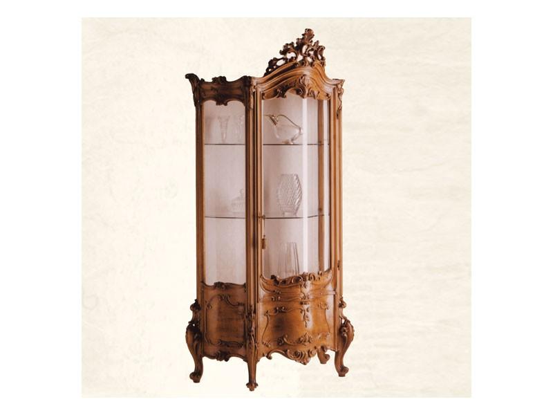 Display Cabinet art. 05, El escaparate de madera maciza con vidrio curvo, Barroco