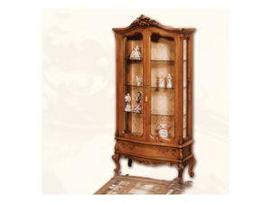 Display Cabinet art. 06, Vitrina de madera con puertas, estilo Luis XV