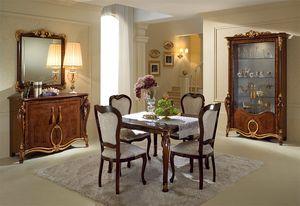 Donatello vitrina 2 puertas, Elegante muestra, diseño italiano clásico, para sala de estar