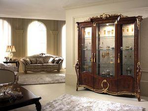 Donatello vitrina 3 puertas, Mostrar gabinete con una decoración elegante, con un gusto clásico italiano, para los comedores