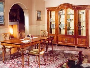 DUCALE DUCSO4PB / Display cabinet with 4 doors, El escaparate de fresno y vidrio, estilo clásico de lujo