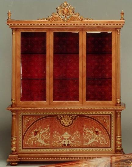 F500 Display cabinet, Vitrina de estilo clásico, madera tallada a mano