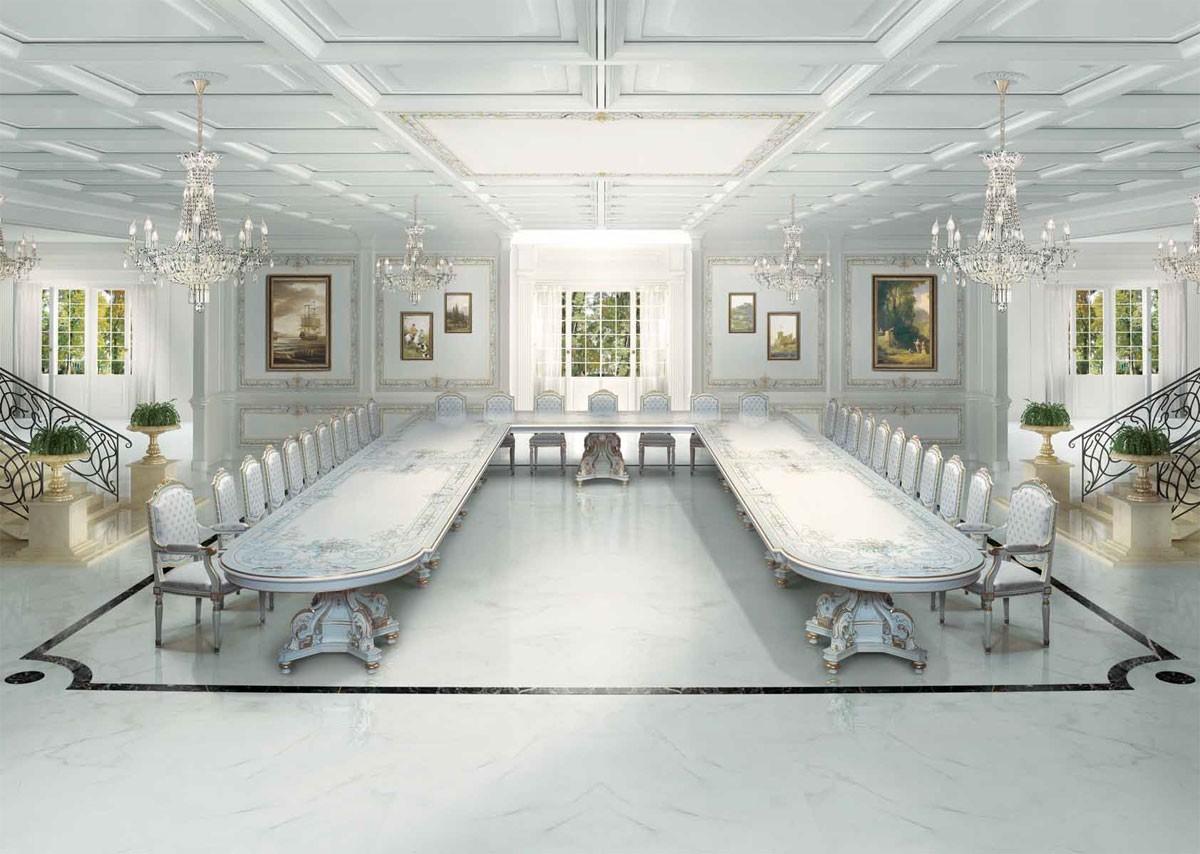 F504 Art Deco dining room, Gran mesa clásico de lujo de estilo Art Deco