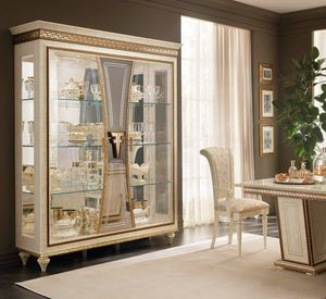 Fantasia vitrina 3 puertas, Lujoso escaparate con decoraciones artesanales