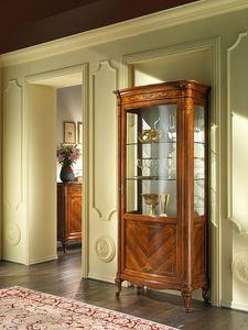G 201, Vitrina en madera de nogal, con 1 puerta y manija de bronce