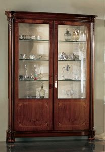 Gardenia vitrina 2 puertas, Mueble clásico pantalla con dos puertas y luz interior