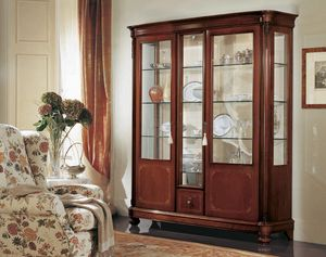 Gardenia vitrina 3 puertas, Vitrina 3 puertas, con cristal curvo, en estilo clásico