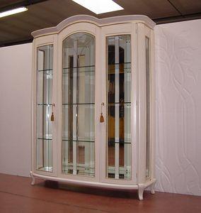 Hilton vitrina 3 puertas, Vitrina clásica, acabado lacado marfil.