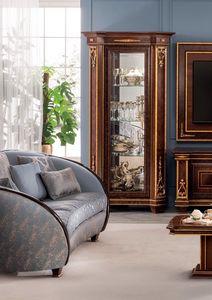 Modigliani vitrina 1 puerta, Vitrina con decoraciones artesanales.