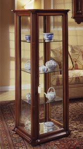 Oxford Art.536 mostrador, Mueble clásico pantalla con el vidrio y ruedas biselado, en madera de nogal