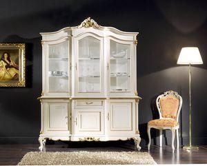 Regency armario 3 puertas lacado, Mueble de vidrio lacado, estilo clásico