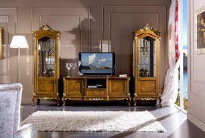 Regency vitrina 1 puerta, Vitrina tallada, estilo clásico