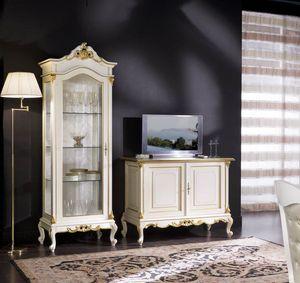 Regency vitrina 1 puerta vidrio lleno, Escaparate de estilo clásico