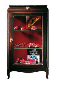 Saint Paul VS.3024, Escaparate de la nuez con una puerta y un cajón, estantes de cristal, de estilo clásico y lujoso