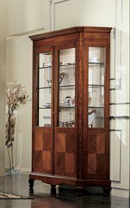 Settecento mostrador, Mueble clásico pantalla con dos puertas y luz interior