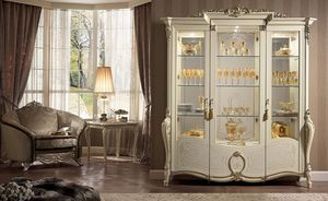 Tiziano vitrina puertas, Vitrina, disponible con 1, 2 o 3 puertas, salas de alimentos clásicos