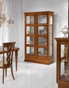 V478 Quadrotti vitrine, Escaparate clásico para sala de estar, dos puertas, para estancias
