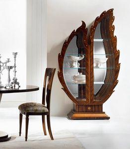 VE37 Pois, Vitrina de madera, espejo de telón de fondo, iluminación de la pantalla