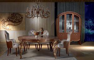 VE38 Vanity vitrine, Vitrina en madera de arce nogal teñido, incrustaciones florales