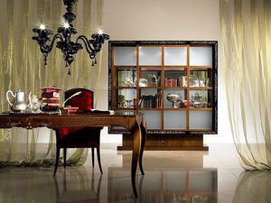 VL19 Quadro, Vitrina Biblioteca con puertas correderas, taracea