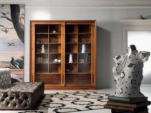 VL25 Le cornici, Vitrina Biblioteca, con incrustaciones, puertas correderas, para sala de estar