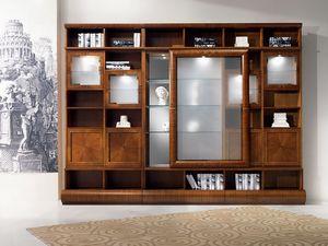 VL27 Pois, Vitrinas biblioteca modular, en madera de nogal, puertas correderas