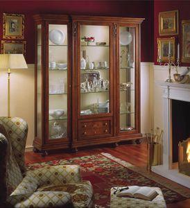 Voltaire vitrina con 3 puertas, Vitrina clásica de lujo con luz interior, en madera de nogal
