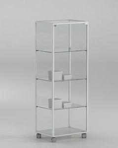 ALLdesign plus 51/14P, Vitrina de vidrio sobre ruedas, para tienda