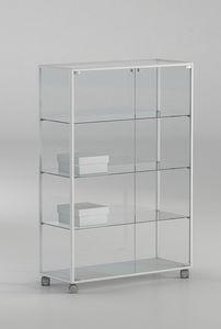 ALLdesign plus 91/14P, Vitrina sobre ruedas, de vidrio con perfiles de aluminio