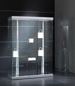 Black&White 14/G, Vitrina con base de piel ecológica, con estantes giratorios.