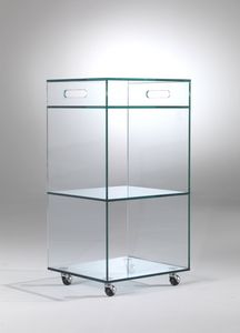 Carrello, Crystal vitrina con ruedas, para tiendas