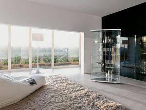 GRACÌA, Su exhibición de muebles en vidrio curvado, de moderna sala de estar