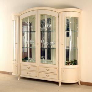 Hilton vitrina 4 puertas, Elegante escaparate de estilo clásico.