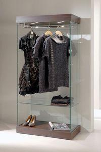 Laminato 131/CA, Vitrina de vidrio, base de madera, focos, de la tienda de ropa