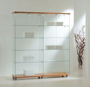 Laminato Light 16/18L, Casos de vidrio, base con ruedas, estantes de cristal, focos