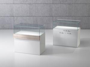 QF/10B, Banco de madera con vitrina de vidrio templado