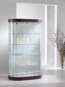 Top Line 9 mod.209/M, Escaparate Oval, vidrio templado, 4 estantes, para las tiendas y salas de estar