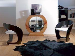 VE29 Oblò, Vitrina en forma de círculo con espejo, marco de madera de cerezo